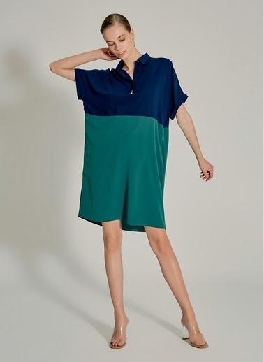 NGSTYLE Essentials - Renk Bloklu Elbise Lacivert